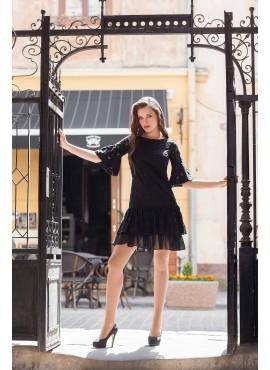 Чорна мереживна сукня мод.5299